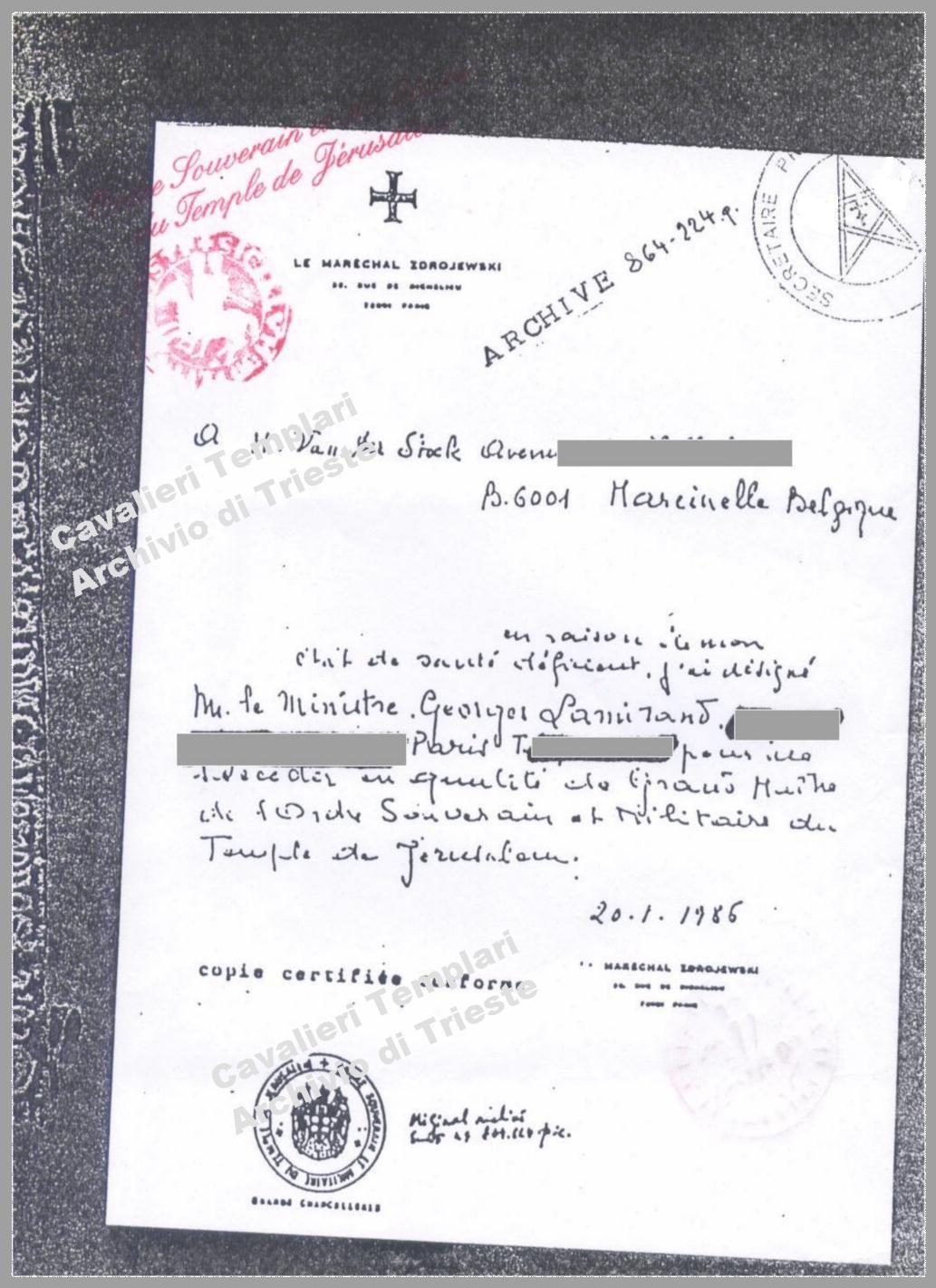Charter from Zdrojewski to Lamirand no Pentagram